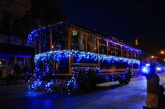 A trolley decorated for the Wilmington Holiday Parade.