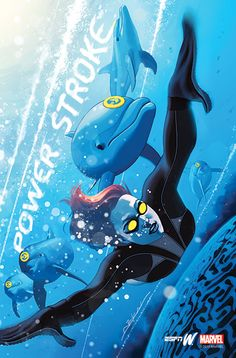 Marvel Artists Jeff Dekal's illustrated Katie Ledecky as she swims with dolphins in this superhero-inspired illustration.