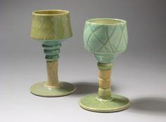 Goblets, Lattice (Cream and Turquoise)