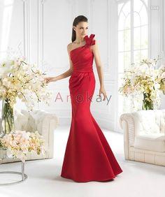 Eine Schulter Rote Mermaid Abendkleider PSL1305370