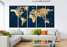 Vintage world map wall art, Push Pin old world Map wall a...