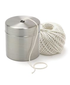 Norpro Twine & Holder | zulily . $10.29 $18.00     Product Description:  This holder keeps cooking twine clean, tidy and ready to tie up or truss a turkey, poultry or other meats at a moment's notice. It's filled with food-safe, unbleached and natural cotton twine.      Includes holder and twine     Holder: 3.25'' H x 3.25'' diameter     Twine: 220' L     Stainless steel / cotton     Hand wash     Imported