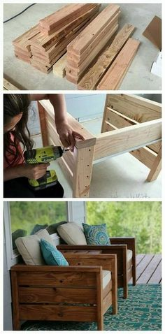 """DIY Pallet Couch - my daughter and son-in-law have made a king sized headboard, two bedside tables and a""""fireplace"""" to hide family room electronics. All from pallet wood and all they are adorable. #diy"""