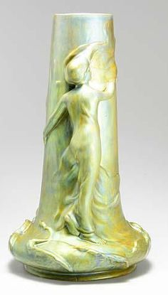 green - vase with figure - art nouveau - Vilmos Zsolnay 1900