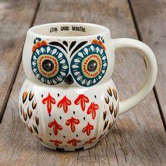 Folk Owl mug - red