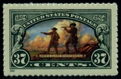 US Stamp Gallery >> Meriwether Lewis & William Clark on hill