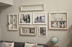 Use vintage window frames to display photos