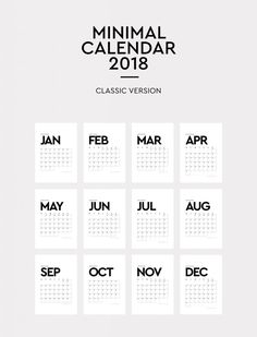 Printable Minimal Calendar 2018 – Free Download