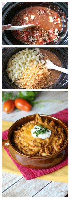Easy Slow Cooker Taco Pasta - Noodles really do need to go in last. I didn't listen to that rule and they got kind of weird!) A combination of two family favorites—tacos and pasta—made easy in the slow cooker. Slow Cooker Tacos, Crock Pot Slow Cooker, Slow Cooker Recipes, Crockpot Recipes, Cooking Recipes, Slow Cooker Pasta, Crock Pot Food, Crockpot Dishes, Do It Yourself Food