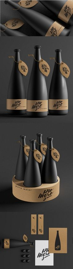 Rio Negro Water matte bottles of water are coated in black and labeled with cardboard PD