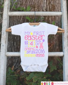 First Easter Outfit for Baby Girls - Personalized Spring Onepiece - Baby's First Holiday - Kids 1st Easter Bodysuit - Pink Pastel Bunny