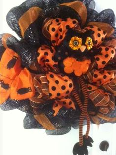 Wreath Giveaway from All About You Designs Fall Mesh Wreaths, Halloween Mesh Wreaths, Owl Wreaths, Halloween Owl, Halloween Door Decorations, Halloween Crochet, Holiday Wreaths, Halloween Themes, Halloween Crafts
