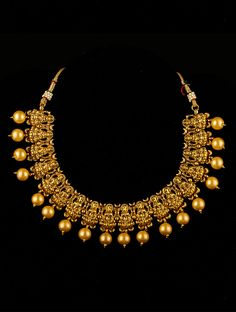 Hand casted in brass, temple jewellery is designed to give you a perfect contemporary look. Traditional in design yet modern in approach, this is one piece your wardrobe must have Gold Jewellery Design, Gold Jewelry, Gold Necklace, Simple Jewelry, Simple Necklace, Temple Jewellery, Jewelry Patterns, Necklace Designs, Antique Jewelry