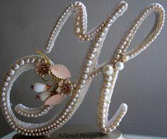Pearl & Lace Monogram Cake Topper