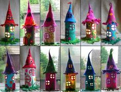 Paper Roll Felted Fairy Houses