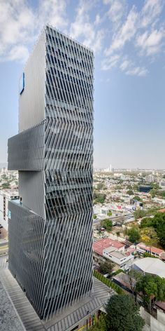 Mexican firm Sordo Madelano Arquitectos has stacked offset volumes that contain a hotel and office spaces to form a tower in Guadalajara.