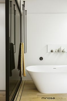 Minosa Design: Clean, Simple lines. Slick bathroom design by Minosa