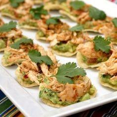 Chipotle chicken tostada bites--spicy chicken balanced with creamy guac in one perfect bite.