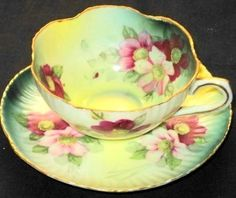 Nippon Japan Coloured Scalloped  Tea cup and saucer