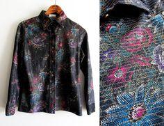 70s Lurex Floral Black Glitter Blouse 70s Glitter Floral | Etsy Vintage Dresses, Vintage Outfits, Disco Shirt, Black Glitter, Gold Flowers, Pink And Gold, Purple, Vintage Shirts, Printed Blouse