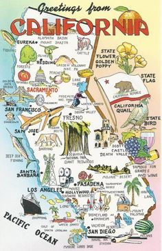 Vintage Postcard - Map of California Arches Nationalpark, Yellowstone Nationalpark, Vintage California, California Dreamin', Manhattan Beach California, Ventura California, Vintage Maps, Vintage Travel, Vintage Postcards