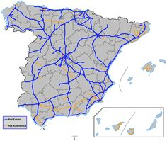 Spanish network of motorways Sitges, Cadiz, Pamplona, Bilbao, Alicante, Spain Travel, Valencia, Diagram, World