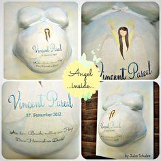 Loving linghtful Angel on a belly Cast - keepsake of pregnancy  By Julia Schulze www.mommyandbaby.de