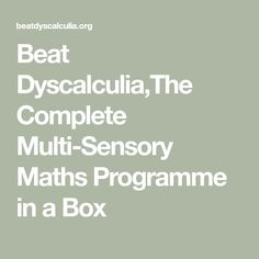 Beat Dyscalculia,The Complete Multi-Sensory Maths Programme in a Box Teaching Math, Maths, Key Stage 1, Special Educational Needs, Dyscalculia, Multi Sensory, Core Curriculum, Numeracy, Dyslexia
