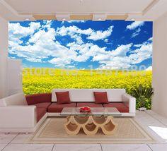 Cualquier Tamaño Pastoral Flores Azules Construcción Del Sofá Del  Dormitorio Papel Tapiz De Fondo La Moda Photo