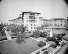 Ambassador Hotel and Cocoanut Grove nightclub, 3400 Wilshire Boulevard, Los Angeles, CA (1921-1989; demolished 2005-2006).  Mediterranean Revival design by Pasadena architect Myron Hunt.  Paul Williams designed hotel's exterior and interior for its 1949 renovation.  Guy Lombardo's Orchestra featured on the marquee in this photo. Robert F. Kennedy assassinated here June 5, 1968 after the Democratic National Convention.