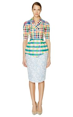 Scallop Jacket In Multicolor Madras by Thom Browne Now Available on Moda Operandi