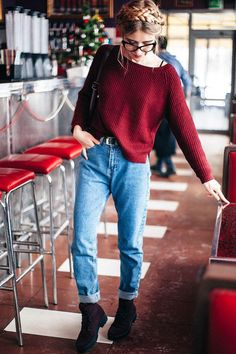 Wine Red Boat Neck Sweater WINE RED: Sweaters   ZAFUL