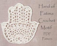 Crochet Motif Crochet Hamsa Crochet Pattern Hand of Boho Crochet Patterns, Crochet Yarn, Hand Crochet, Crochet Hooks, Free Crochet, Crochet Doilies, Crochet Flowers, Crochet Ideas, Half Double Crochet