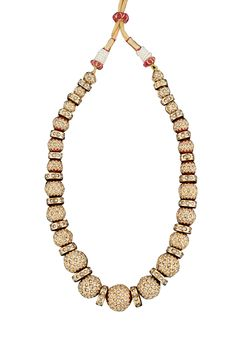 Pearl embedded gold plated jadau necklace