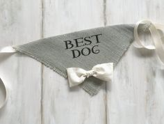 Best Dog -  Gray Wedding Dog Bandana with Bowtie - Hello Hazel Co.