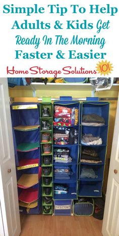 If you struggle to get yourself or your kids dressed and out the door quickly and easily in the morning use this simple tip, of laying out clothes the night or week before, to get ready in the morning more easily {on Home Storage Solutions 101}