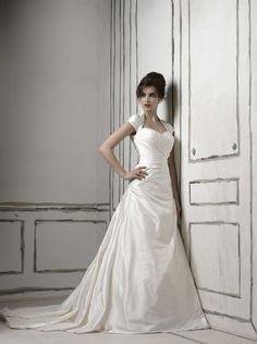 A-line Queen Anne Neckline Hand Draped Bodice Asymmetric Waistline Satin Wedding Dress-wa0172, $259.95
