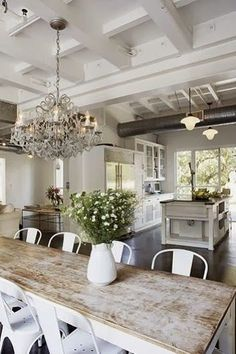 beautiful room - rustic farmhouse style white master kitchen crystal chandelier Brunch Recipes, Vegan Recipes, Cooking Recipes, Home Theater Decor, Diy Home Decor, Farmhouse Table, Modern Farmhouse, Poster Designs, Apparel Design