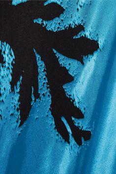 Topshop Unique - Eltham Devoré Satin Maxi Skirt - Bright blue - UK12