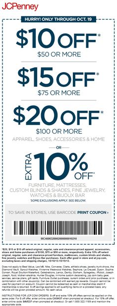 Pinned October 18th 10 Off 50 And More At JCPenney Or Online Via Promo