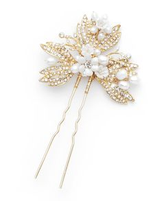 """""""Pins are one of my favorite wedding accessories because of their versatility. The Shelby Hair pin would complement swept up hair, or on ribbon belt or even tucked into a bouquet as a fabulous accent.  The Shelby Hair Pin feels elegant and like a keepsake that you would want to one day share."""" - David Tutera"""