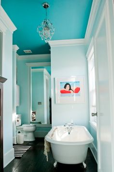 Sherwin Williams Biscay (Pastel dark color) on celing.