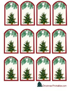 gift tags decorated with christmas tree