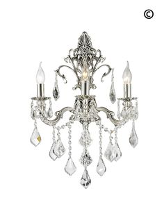 Americana Antique brass finish Crystal Wall Light Sconce with 3 LED Lights…