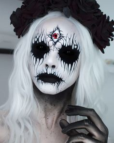 What should I call this one? Its been a while since I did a corpse paint and What should I call this one? Its been a while since I did a corpse paint and Ive had this idea for ages. Im honestly living for strong contrasts atm. I spray painted this old Creepy Makeup, Fx Makeup, Cosplay Makeup, Costume Makeup, Beauty Makeup, Hair Beauty, Halloween Look, Cool Halloween Makeup, Horror Make-up