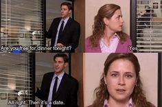 """Jim Halpert will never rush back from New York City, turning his back on a huge job opportunity, to ask you on a first date. 23 Reasons """"The Office"""" Is The Worst Show Of All Time Pam The Office, The Office Show, Office Fan, Jim Pam, Office Memes, Office Quotes, The Office Love Quotes, Funny Office, Acts Of Love"""