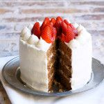 Greek Walnut Cake with Strawberries and Cream