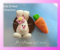 Easter Bunny with Carrot Polymer Clay Charm Bead, Scrapbooking, Bow Center, Pendant, Cupcake topper, Magnet, Ring