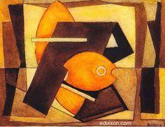 """Mario Radice - Opere - """"Composizione in arancio"""", 1938, tempera, cm 10x13..."""