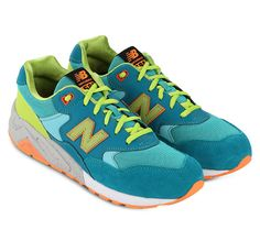 Mrt 580 Sneakers by New Balance. Light up your look with this neon shades shoes! Soft suede uppers with mesh insets topped with cotton laces, complete with super padded ankle collar, must shoes for sneaker collector. Brings new school cool to a beloved classic.     http://www.zocko.com/z/JJP0U